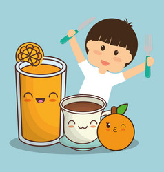 Boy with juice chocolate and orange fruit vector