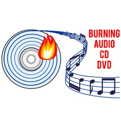 Burning audio cd or dvd vector