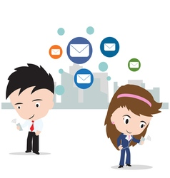 Businessman and woman working on internet mail vector