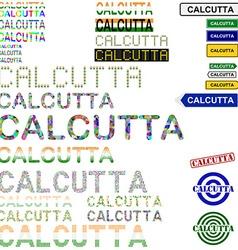 Calcutta text design set vector