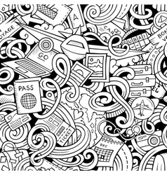 Cartoon doodles travel planning seamless pattern vector image vector image