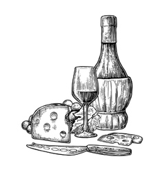 Cheese and wine set Bottle glass bunch of vector image vector image