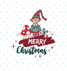 Christmas cute santa helper elf holiday cartoon vector
