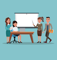 Color background teamwork business people in vector