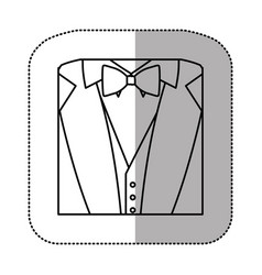 Contour sticker suit with bow tie icon vector