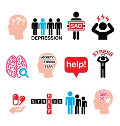 Depression stress icons set - mental health conce vector