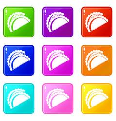 Empanadas de pollo icons 9 set vector