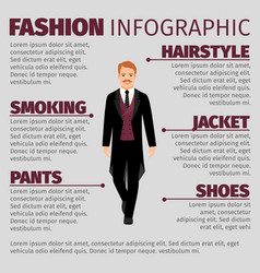 Fashion infographic with man in smoking vector