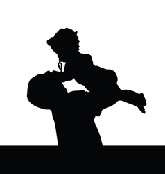 Father playing with daughter silhouette vector