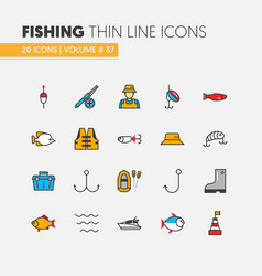 Fishing linear thin line icons set with fisherman vector