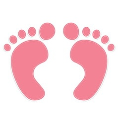 foot prints color pink vector image vector image