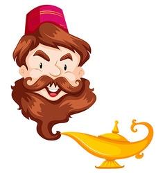 Genie head and golden lamp vector