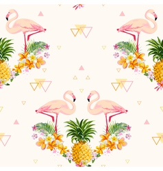 Geometric Pineapple and Flamingo Background vector image
