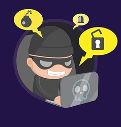 Hacker thief robbery network cartoon vector
