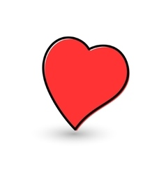 Hand-drawn painted red heart vector image vector image