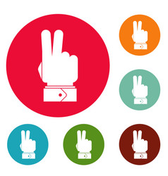 Hand hey icons circle set vector