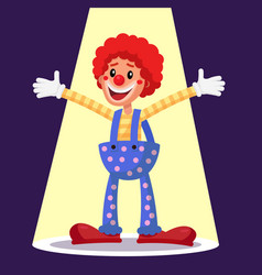 Happy clown circus action performer vector