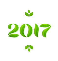 Happy new year 2017 eco leaves greeting card vector