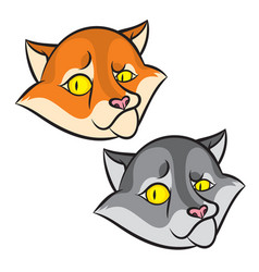 Head of cartoon smiling cat vector