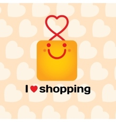 I love shopping Smiling bag with hearts on vector image vector image