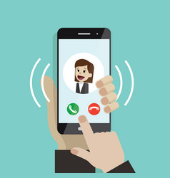 incoming call human hand holding cellphone vector image