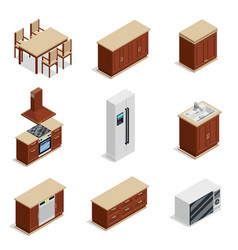 Kitchen furniture isometric icons set vector