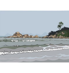 Landscape gray sea in the tropics vector