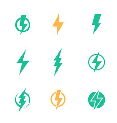 Lightning bolt signs on white vector