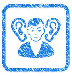 Listener framed stamp vector