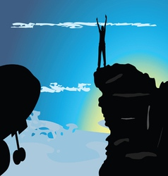man on the mountain top vector image