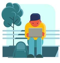 Man working on laptop on the street vector