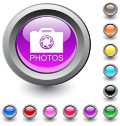 Photos round button vector image