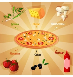 Pizza ingredients poster vector