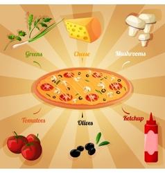 Pizza ingredients poster vector image vector image