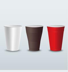 plastic colored coffee tea cups template vector image