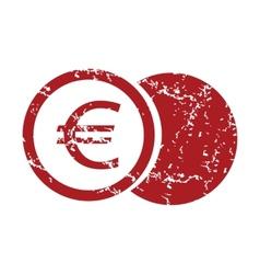 Red grunge euro coin logo vector