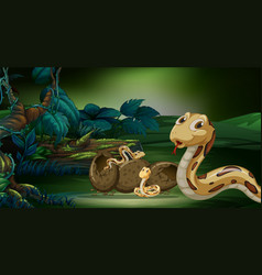 Scene with snakes hatching egg vector