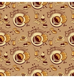 Seamless pattern with coffee cups beans cakes vector image