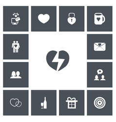 Set of 13 editable love icons includes symbols vector