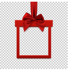 square banner in form of gift with red ribbon and vector image vector image