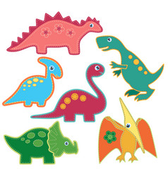 the set of cute bright dinosaurs patches vector image