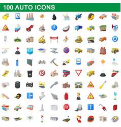 100 auto icons set cartoon style vector image
