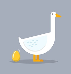 White goose and golden egg vector