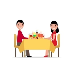 Cartoon romantic dinner by candlelight vector