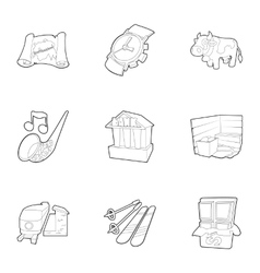 Tourism in switzerland icons set outline style vector