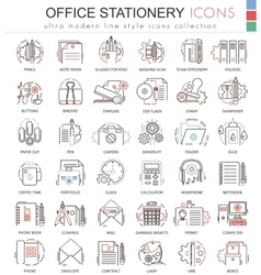 Office stationery line red color line vector