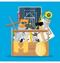 Carpentry instruments in wooden toolbox vector