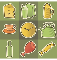 Multicolored food icons vector