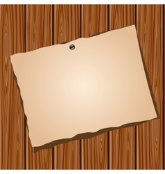 Paper on a wooden wall vector image