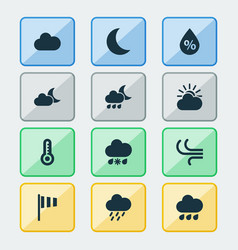 Weather icons set collection of rainy sun-cloud vector